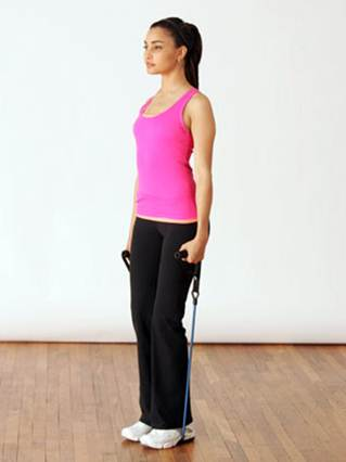 Description: Stand in the middle of the band with your feet shoulder-width apart.