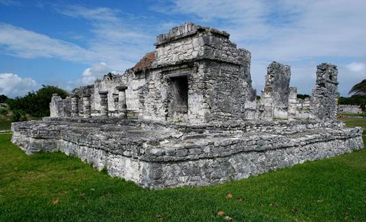 "Description: Ancient Mayan stone ruins stand tall in the ancient city of Tulum, or ""Walled City,"" in Quintana Roo, Mexico"