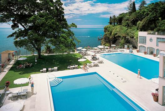 Description: The swimming pools at Reid's Palace Hotel
