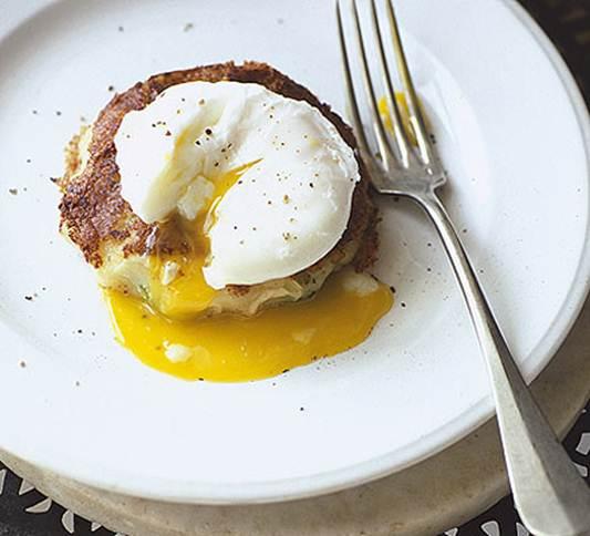 Description: Bubble and squeak with poached eggs