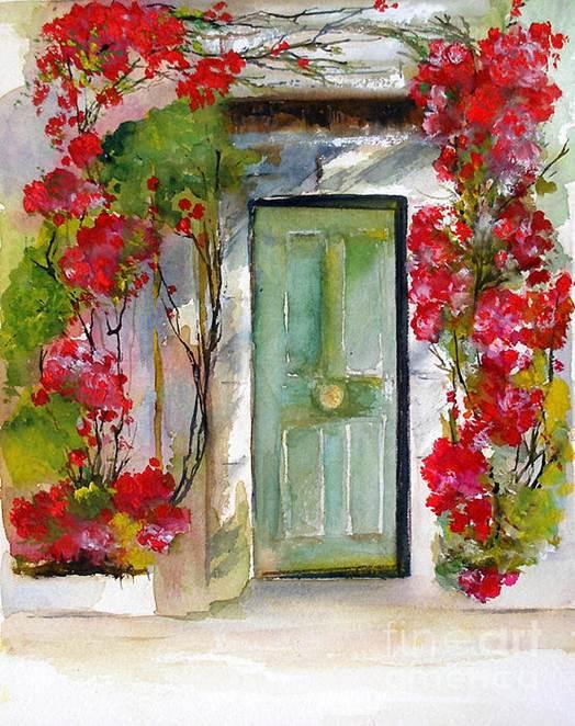 Description: Find a painting of a door ajar.