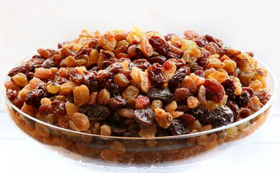 Raisins contain potassium, which is known to lower blood pressure.