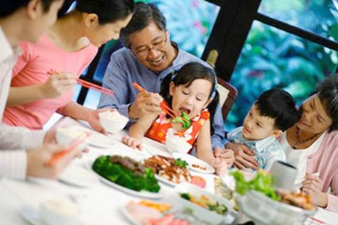 Parents shouldn't let children have the habit of eating and putting their back to their parents.