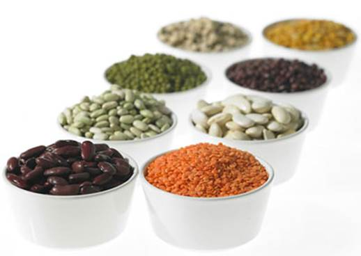 Bean and lentil are arranged to super foods.