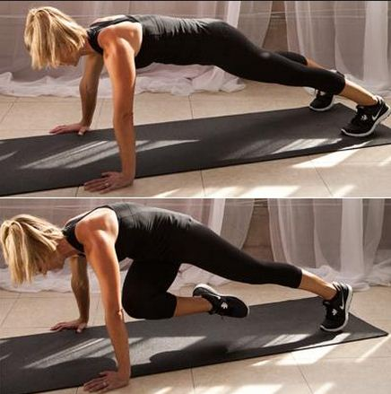 Plank with knee bend
