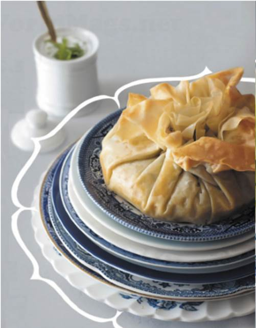 Moroccan duck and date filo pie