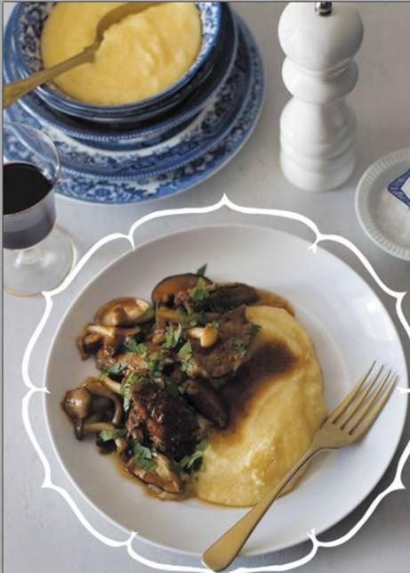 Braised duck and wild mushroom ragu with creamy polenta