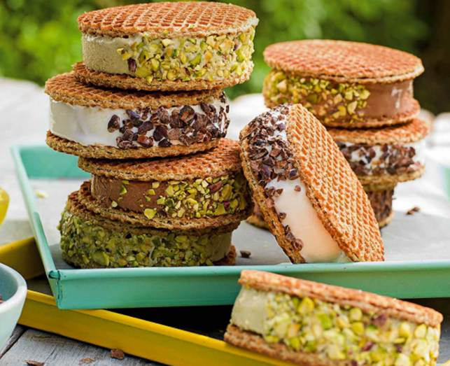 Waffle ice-cream sandwiches