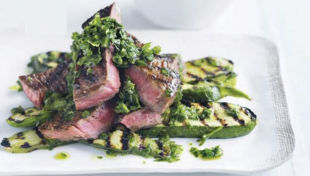 Grilled steak with green salsa