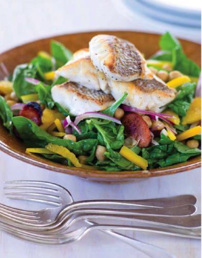 Crispy alfonsino, chorizo and chickpea salad