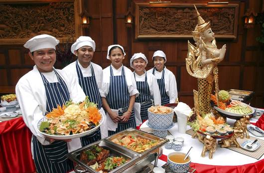 Description: In the main restaurant, the food is served in a massive buffet.