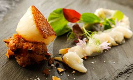 Description: Seared scallop at the Michelin starred The Crown at Whitebrook