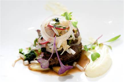 Description: Restaurant Sat Bains presents Beef Cheeks, Seaweed, Oyster