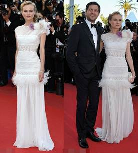 Description: Diane Kruger was like an angel in white lace dress with decorative flowers and feathers