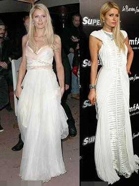 """Description: """"High-end devil Paris Hilton"""" was charming with the white color"""