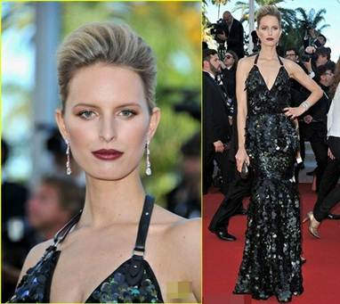 Description: Karolina Kurkovawith with her gothic style makeup in sexy metallic black dress by Roberto Cavalli