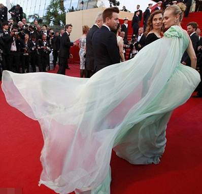 Description: Diane Kruger jurywoman chose a very feminine and sweet chiffon layered dress in mint green