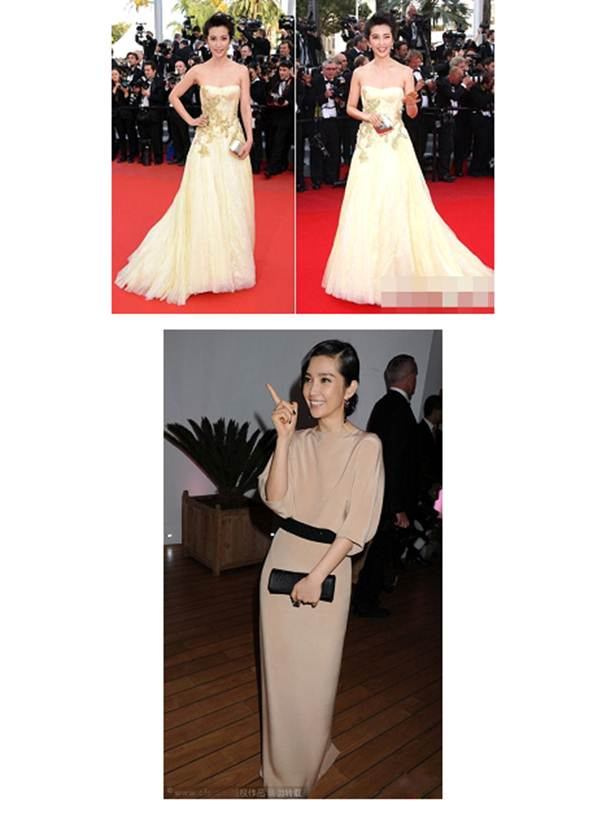 Description: Fair skin and slim stature of the fairy Li Bingbing blended perfectly with the dress' pastel color