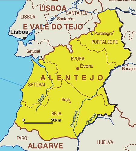 Description: Map of Alentejo So the Alentejo, located in southern