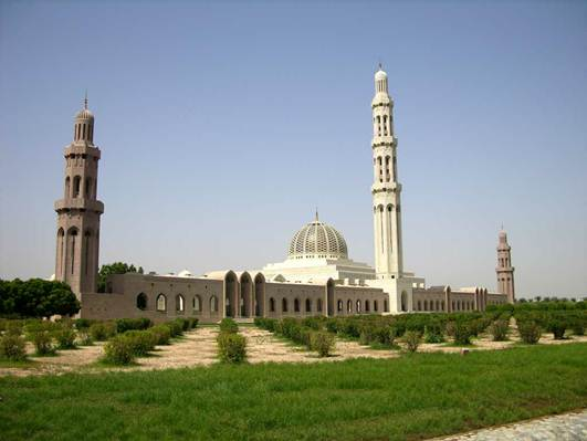Description: The Sultan Qaboos Grand Mosque is a lovely structure built in sandstone