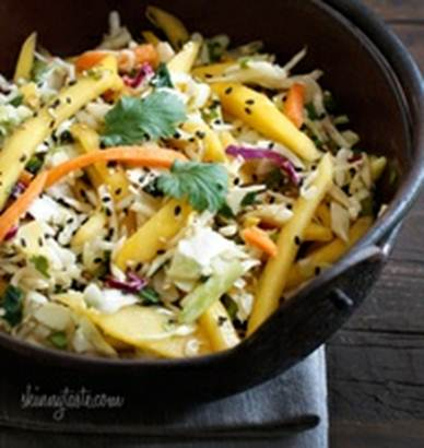 Description: Cabbage and Mango Slaw with Caramelised Macadamias