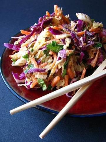 Description: Put shredded cabbage, mango, papaya, fresh chilli, mint and coriander into a large serving bowl
