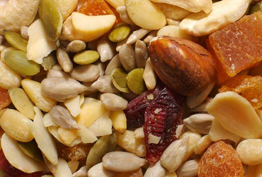Description: Nuts and seeds for vitamin E, fruit for vitamin C
