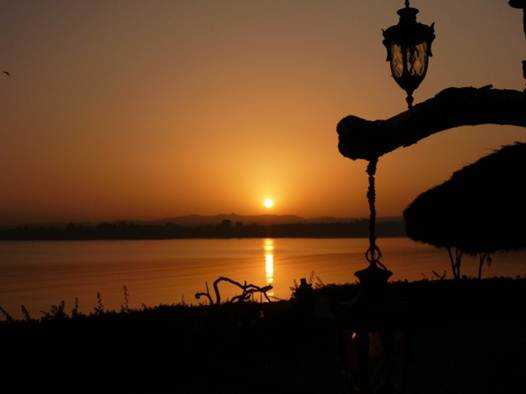 Description: Sunrise over Lake Tana