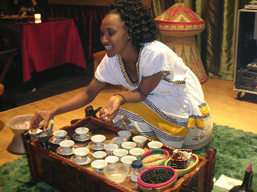 Description: A traditional Ethiopian coffee ceremony