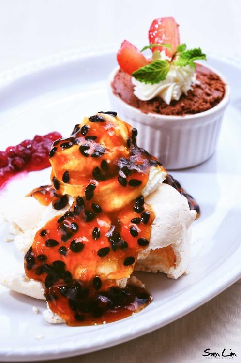 Description: Chocolate Mousse and Passion Fruit Meringue