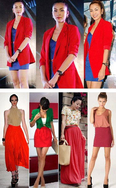 Description: Combination of red with blue, red with beige, or dark green tones
