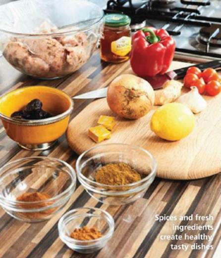 Description: Spices and fresh ingredients create healthy, tasty dishes