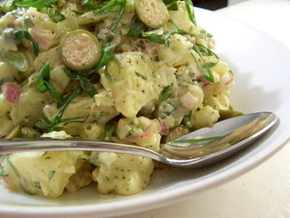 Description: Scatter dill and mint over potato salad