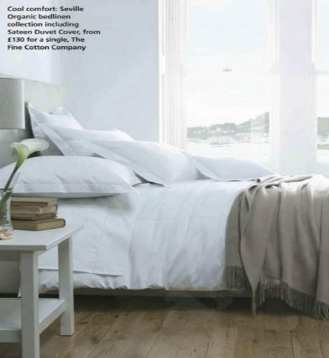 Description: Cool comfort: Seville Organic bedlinen collection including Sateen Duver Cover, from $ 203 for a single, The Fine Cotton Company