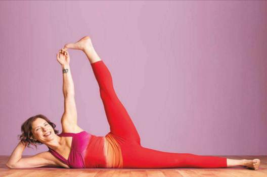 Description: Final pose: with your shoulders and hips open and your core engaged, discover the dynamic balance of Vishnu's pose