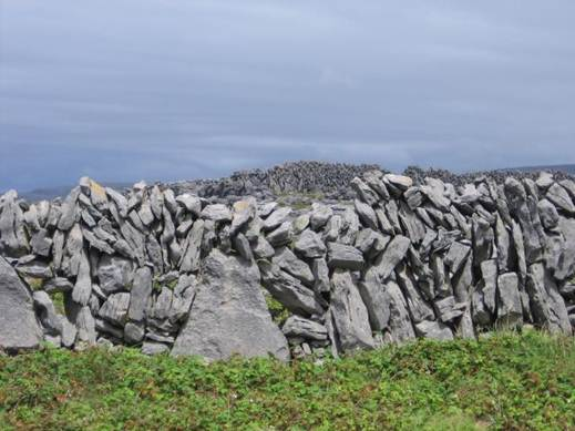 Description: Limestone wall in the Burren on the west coast of Ireland