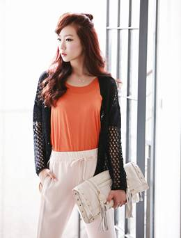 Description: The drawstring backed and light-colored pants suit strongly personalized girls.