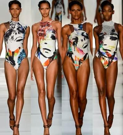 Description: Pop art patterns burst out in swimsuit fashion.