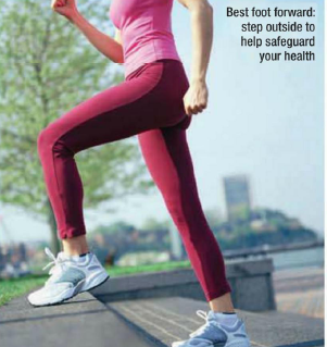 Description: Best foot forward step outside to help safeguard your health
