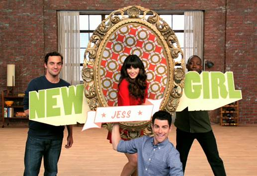 Description: The New Girl with her boys on the show