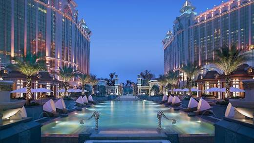 "Description: Cool off at the ""beach resort deck"" and pool at the Banyan Tree Macau."