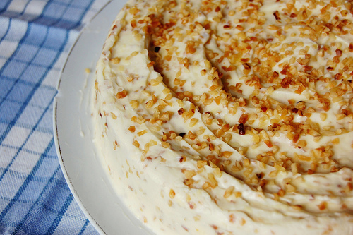 Description: White chocolate & hazelnut cake