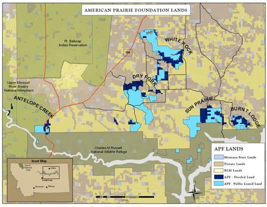 Description: American Prairie Foundation lands map