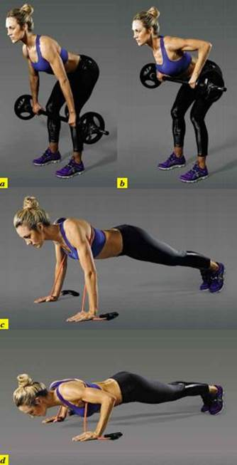 Barbell row to press-up