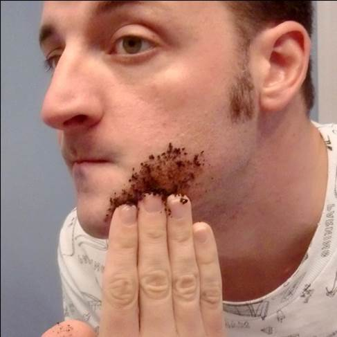 You should apply coffee grounds with olive oil or just coffee grounds on your face and relax in 30 minutes before washing it clean.