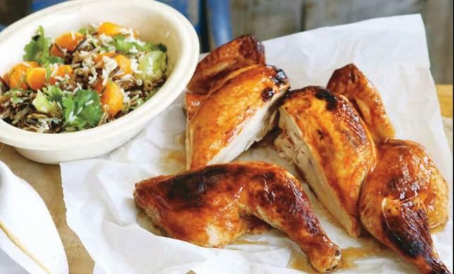 Sticky Chicken With Mandarine, Wild Rice & Herb Salad