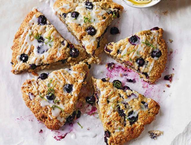 Blueberry scones with lime drizzle