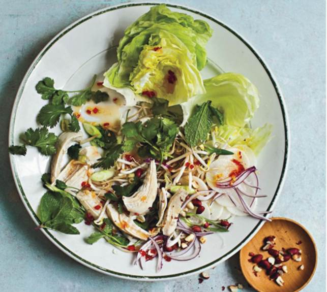 Coconut-Poached Chicken Salad With Sweet Chilli Relish