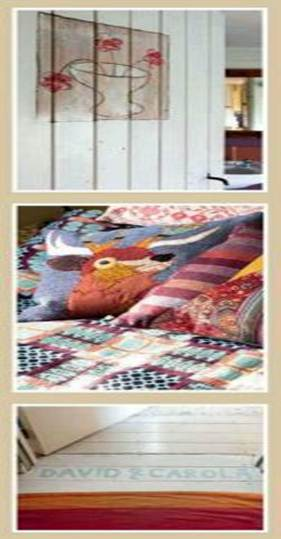 Description: Homemade style - The bathroom door got a fresh new look as Carola used it as a canvas for her artwork; one of the fabulous animal cushions chosen by Mary Portas for her range at House of Fraser; the white floorboards at the entrance to the master bedroom.