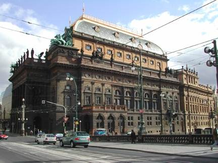 Description: The golden-roofed National Theatre (Narodni Divadlo)
